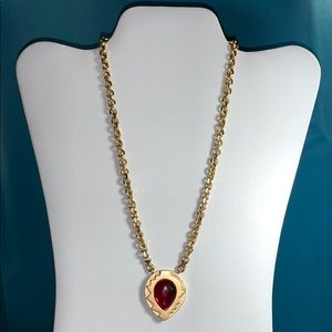Monet necklace with ruby-tone pendant